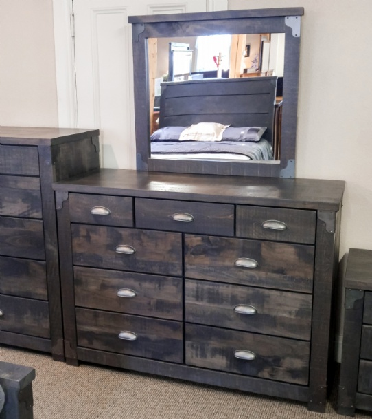 Hoover 9 Drawer Dresser & Mirror With Metal Corners Mennonite Furniture Ontario at Lloyd's Furniture Gallery in Schomberg