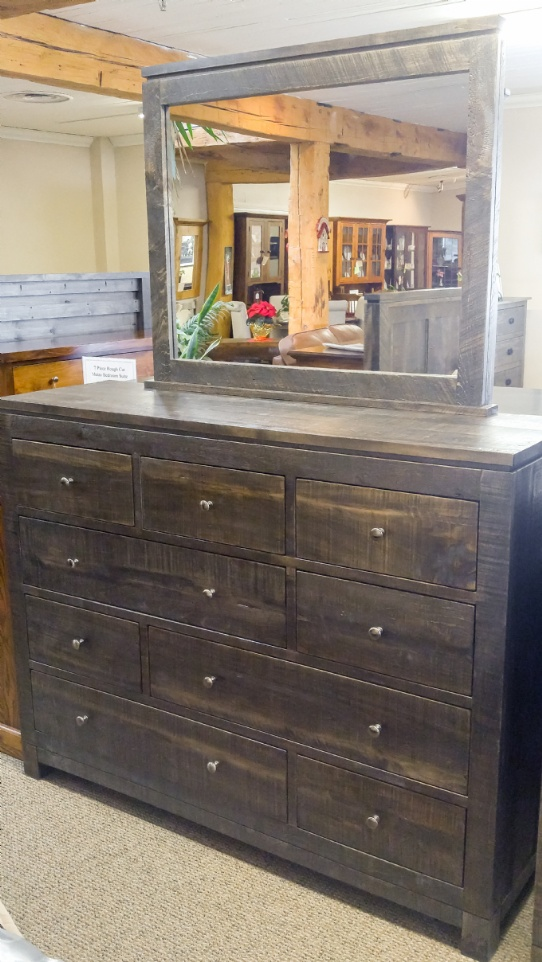 Rough Cut Metro 9 Drawer Dresser and Mirror Mennonite Furniture Ontario at Lloyd's Furniture Gallery in Schomberg
